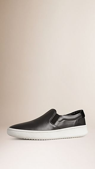 Leather and Suede Slip-on Trainers