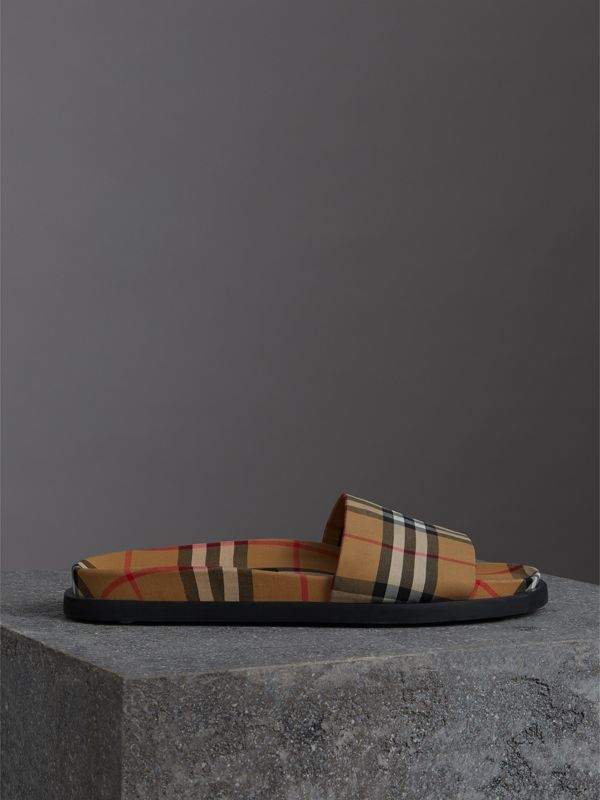 Vintage Check Slides in Antique Yellow - Men | Burberry - cell image 3
