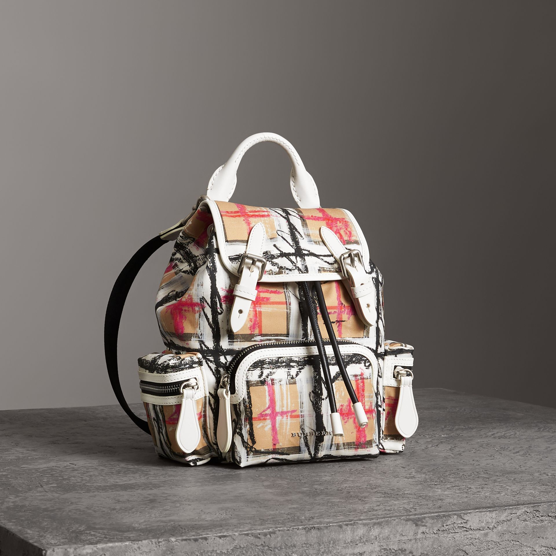The Small Crossbody Rucksack in Scribble Check in Chalk White - Women | Burberry - gallery image 0