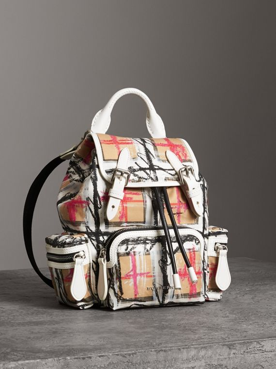 The Small Crossbody Rucksack in Scribble Check in Chalk White