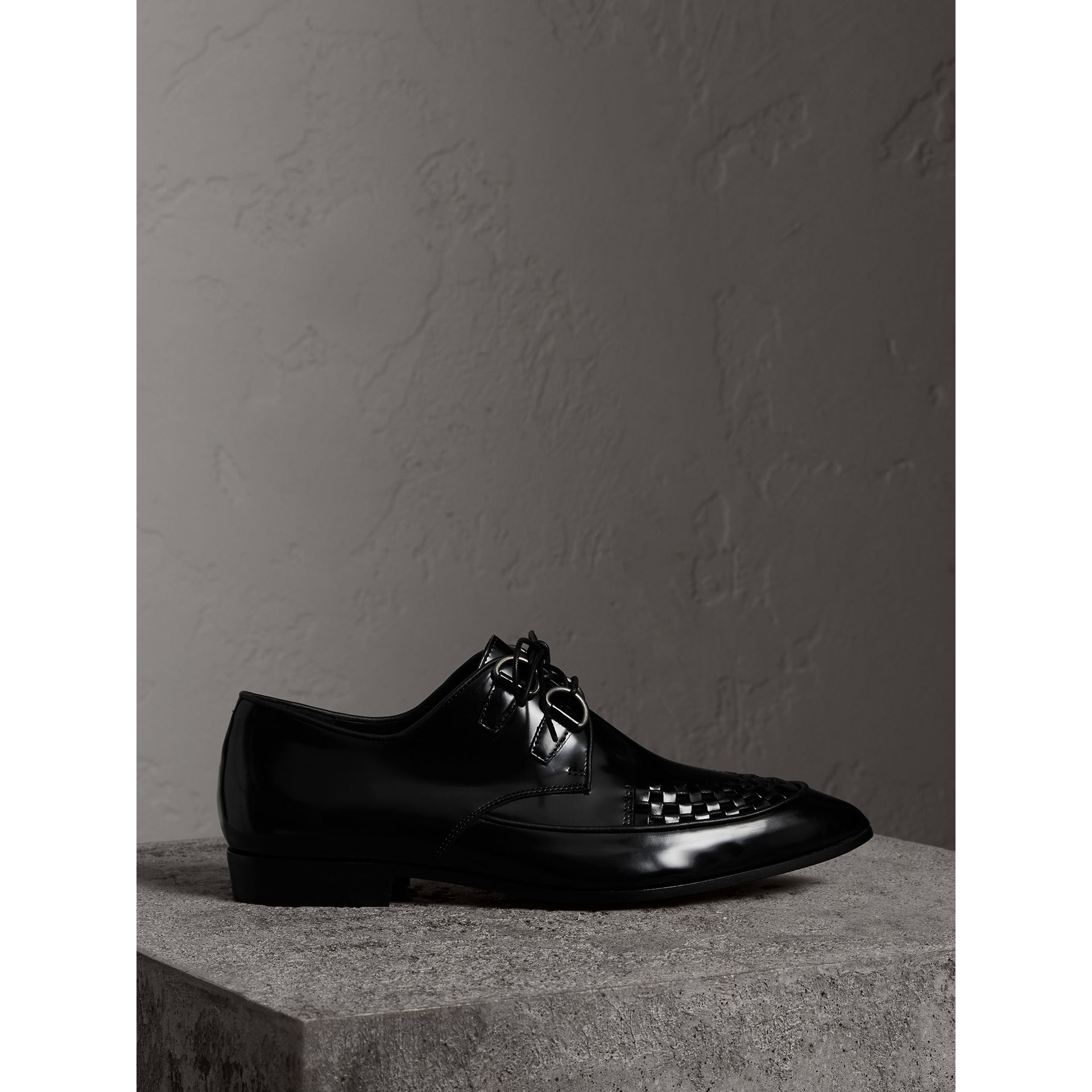 Woven-toe Polished Leather Derby Shoes in Black - Women | Burberry - gallery image 4