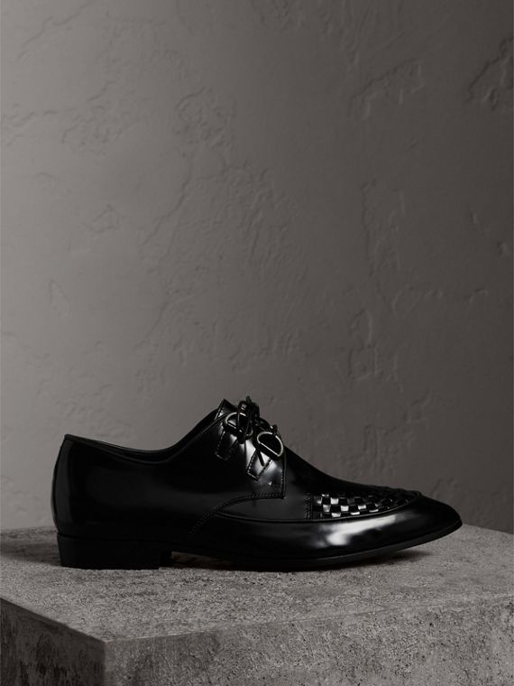 Woven-toe Polished Leather Derby Shoes in Black - Women | Burberry - cell image 3