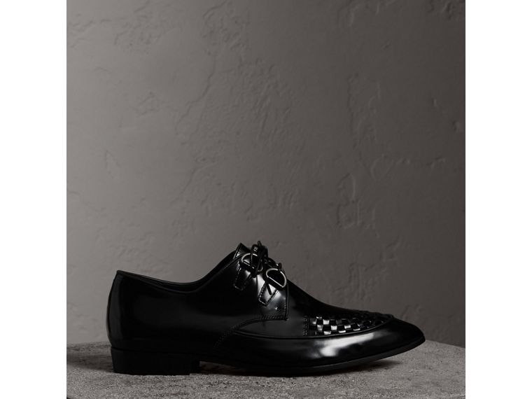 Woven-toe Polished Leather Derby Shoes in Black - Women | Burberry - cell image 4