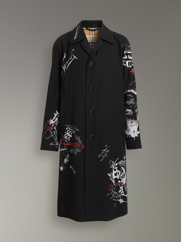 Sketch Print Car Coat in Black - Men | Burberry - cell image 3