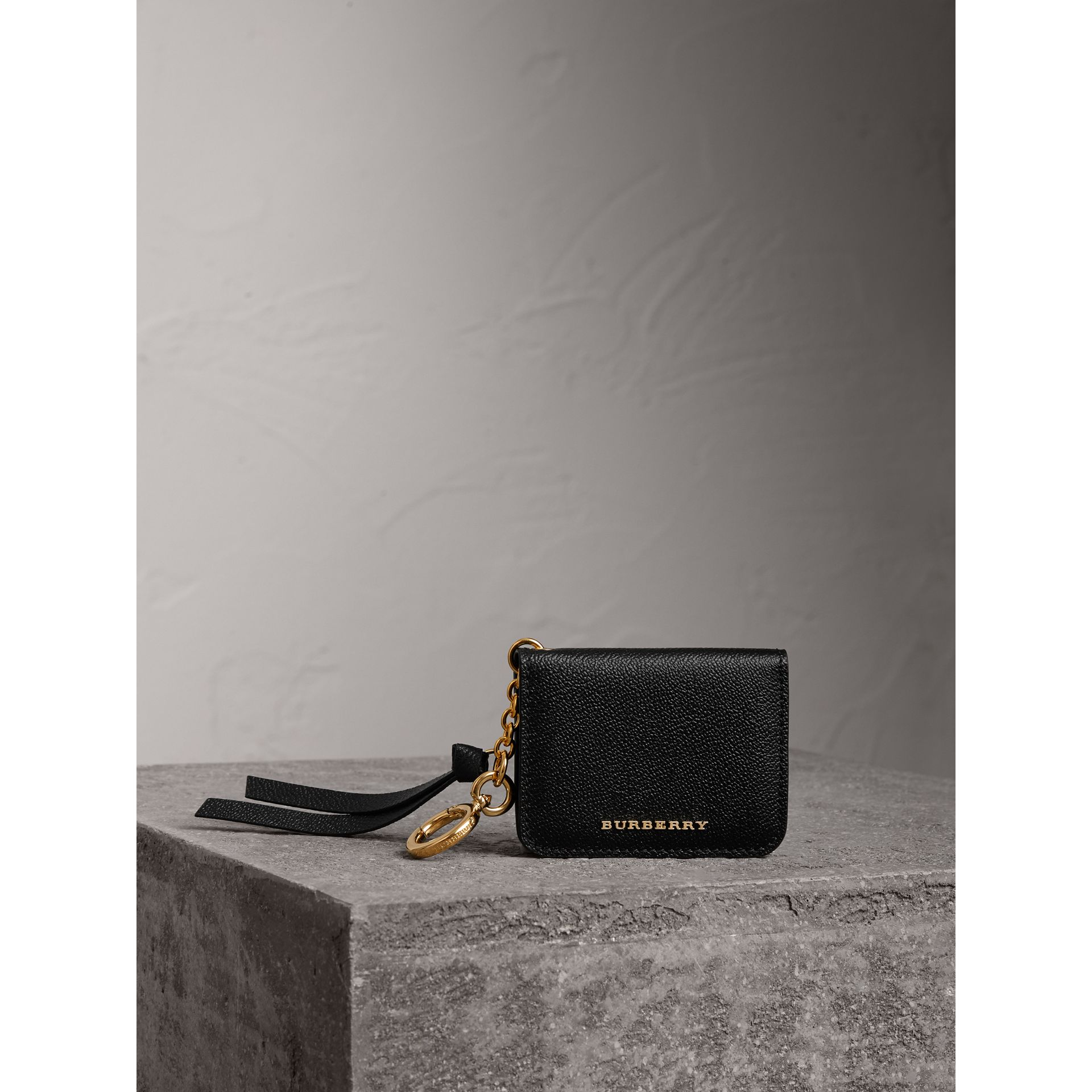 Grainy Leather ID Card Case Charm in Black - Women | Burberry - gallery image 5