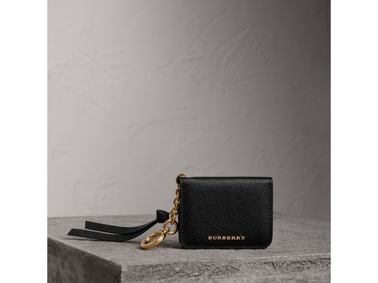 Grainy Leather ID Card Case Charm in Black - Women | Burberry - cell image 4