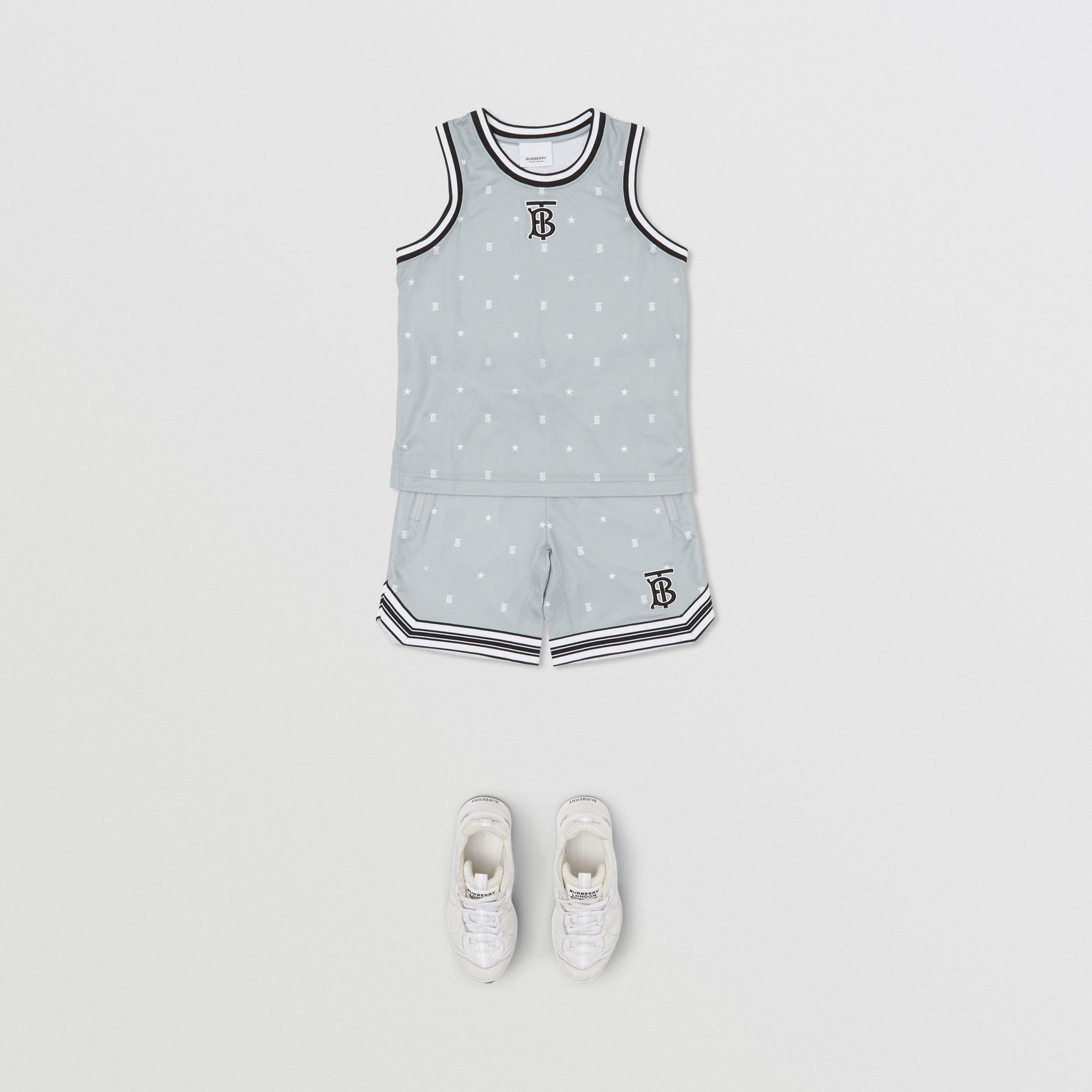Star and Monogram Motif Mesh Sleeveless Top in Light Grey | Burberry - 3