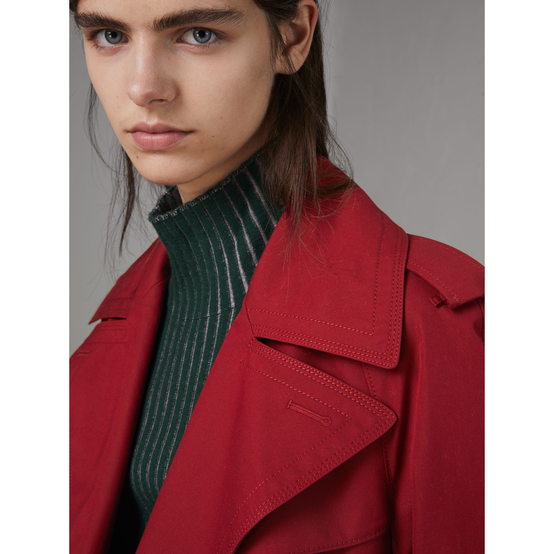 Oversized Lapel Cotton Gabardine Trench Coat in Parade Red - Women | Burberry - gallery image 4