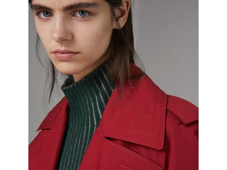 Oversized Lapel Cotton Gabardine Trench Coat in Parade Red - Women | Burberry Hong Kong - cell image 4