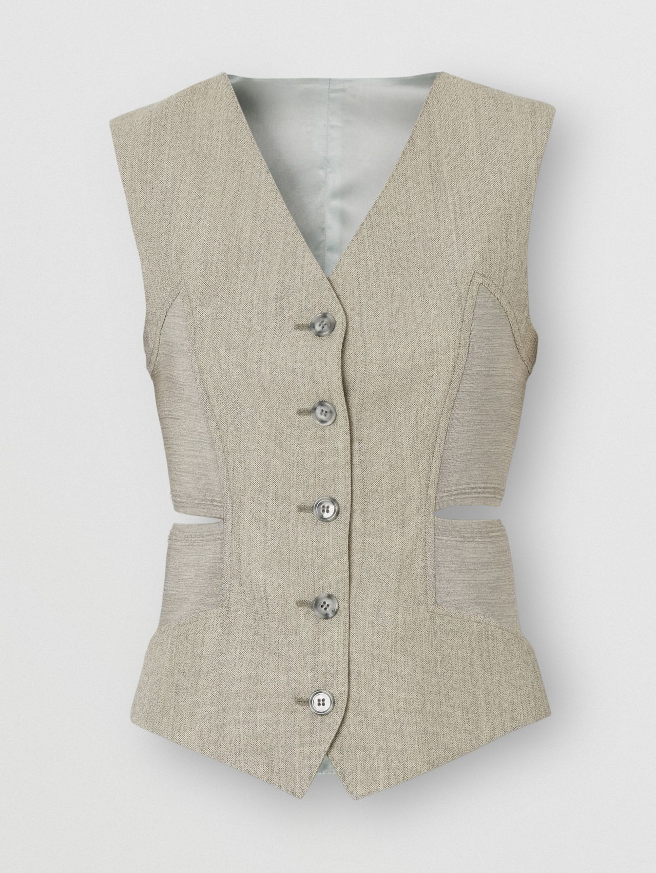 Cut-out Detail Technical Wool Waistcoat in Grey