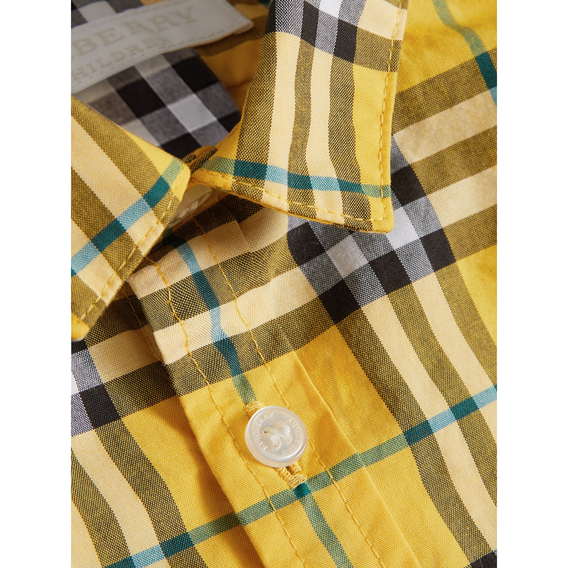 Short-sleeve Check Cotton Shirt in Bright Yellow | Burberry - gallery image 1