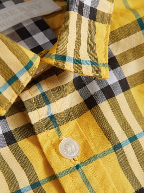 Short-sleeve Check Cotton Shirt in Bright Yellow - Children | Burberry United States - cell image 1
