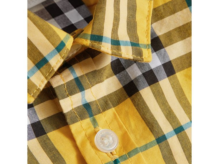 Short-sleeve Check Cotton Shirt in Bright Yellow | Burberry - cell image 1