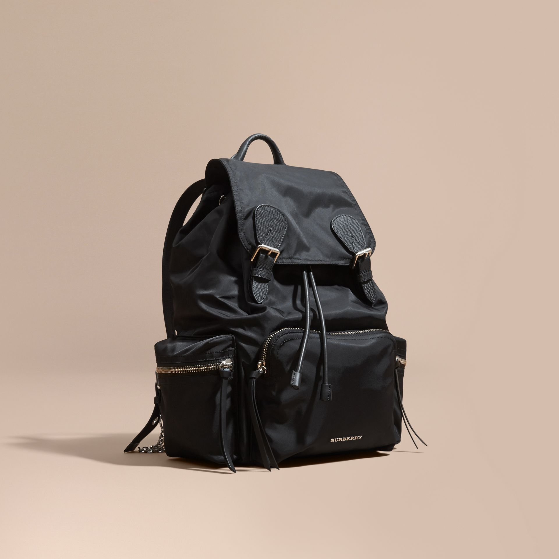 The Large Rucksack in Technical Nylon and Leather Black/black - gallery image 1