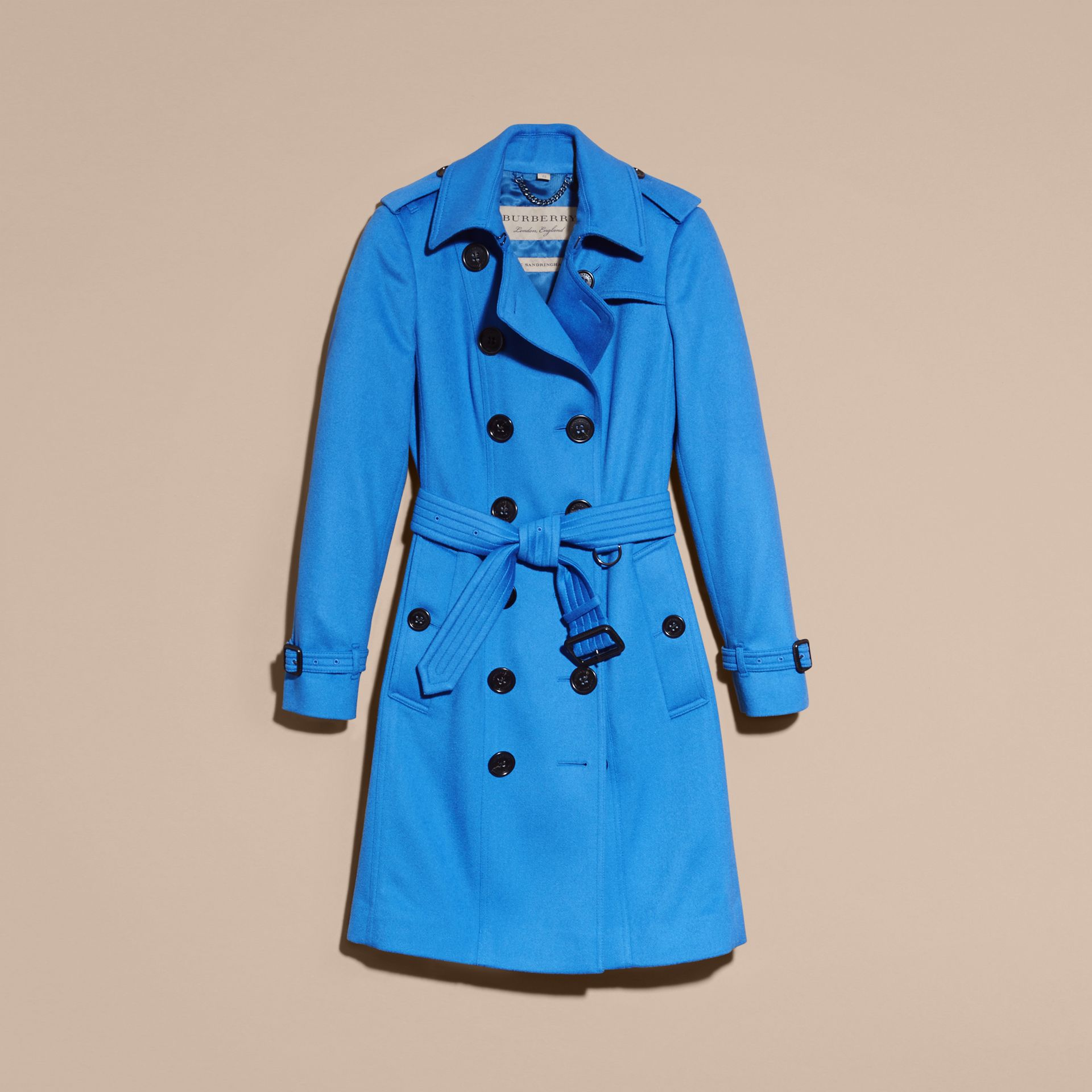 Cornflower Sandringham Fit Cashmere Trench Coat Cornflower - gallery image 4