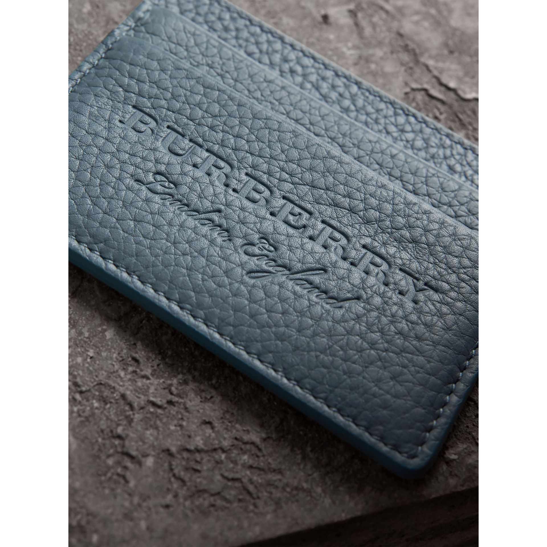 Embossed Textured Leather Card Case in Dusty Teal Blue | Burberry - gallery image 1