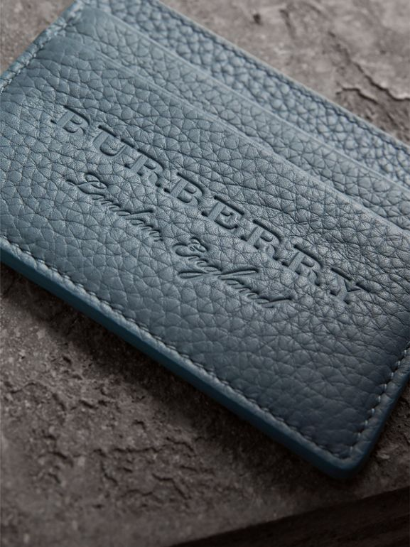 Embossed Textured Leather Card Case in Dusty Teal Blue | Burberry - cell image 1