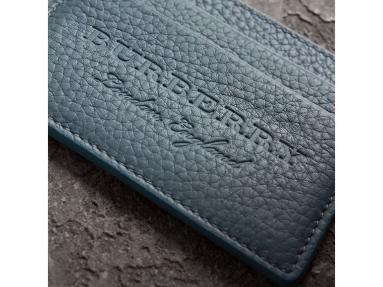 Embossed Textured Leather Card Case in Dusty Teal Blue - Women | Burberry - cell image 1