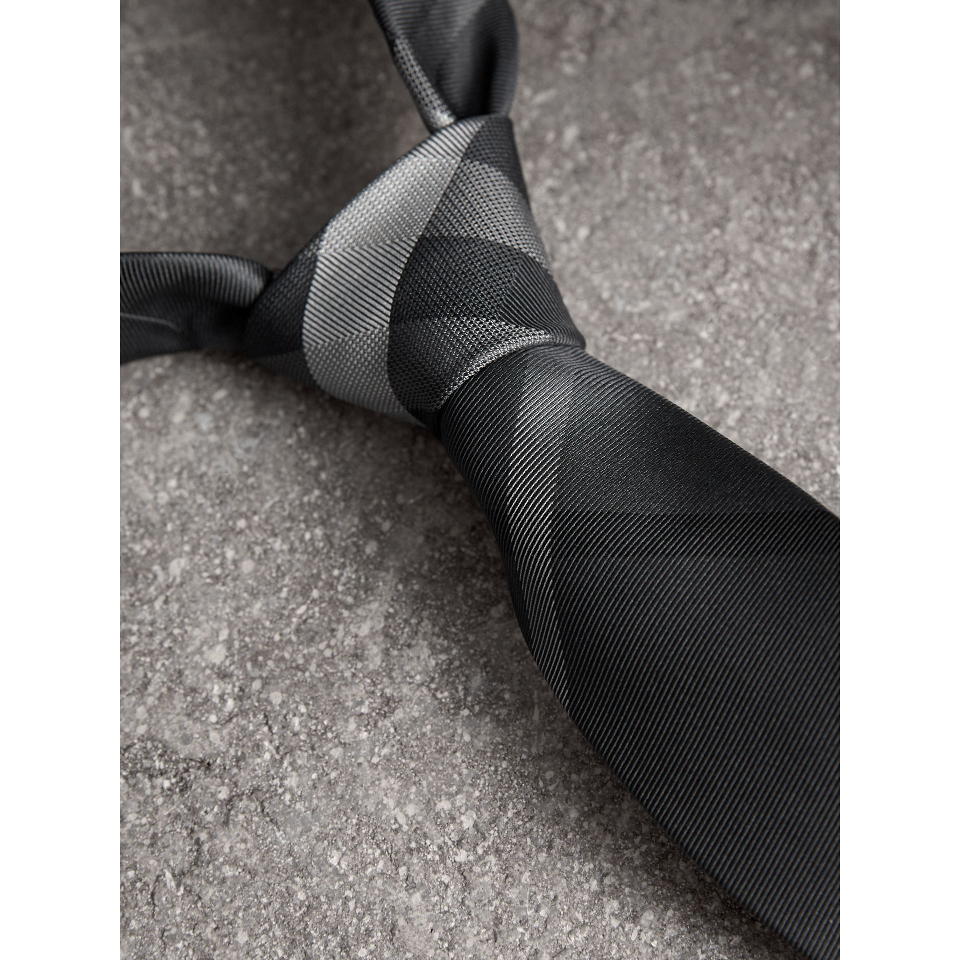 Modern Cut Patterned Silk Tie in Mid Grey - Men | Burberry - gallery image 2