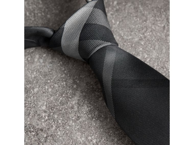 Modern Cut Patterned Silk Tie in Mid Grey - Men | Burberry Canada - cell image 1