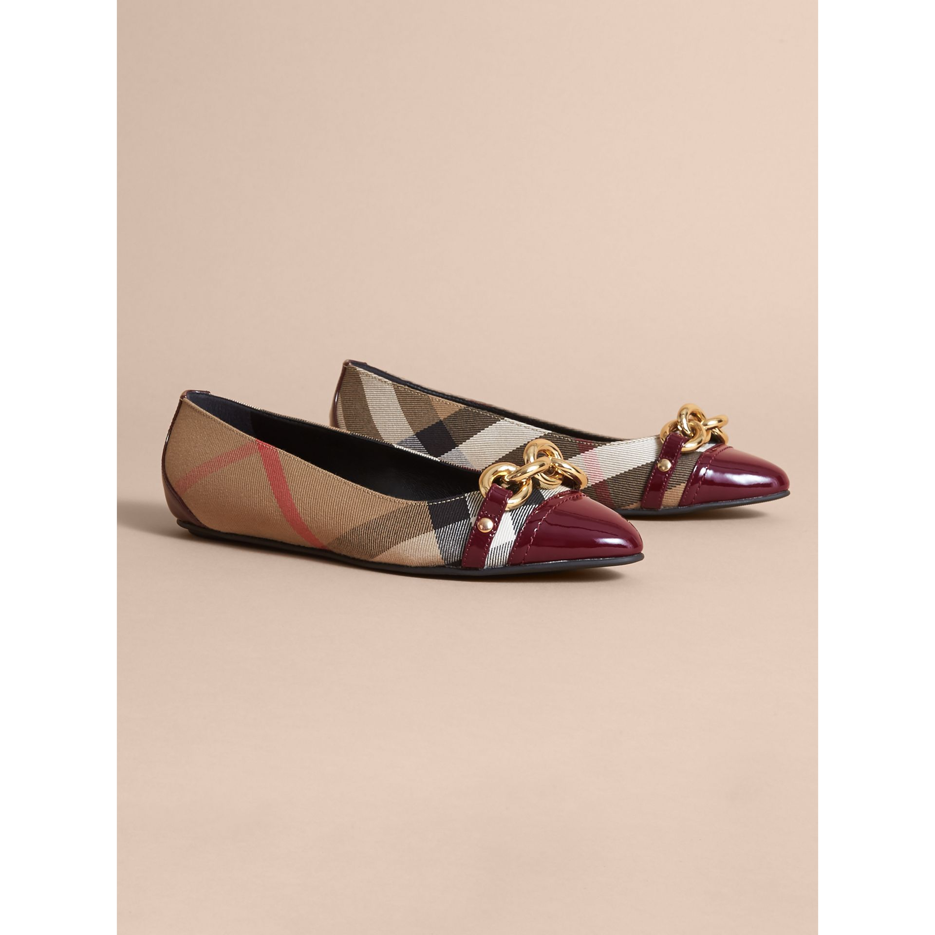 Chain Detail House Check and Patent Leather Ballerinas - gallery image 1