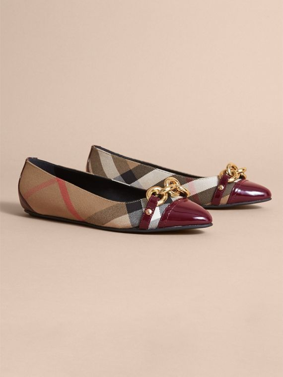 Chain Detail House Check and Patent Leather Ballerinas