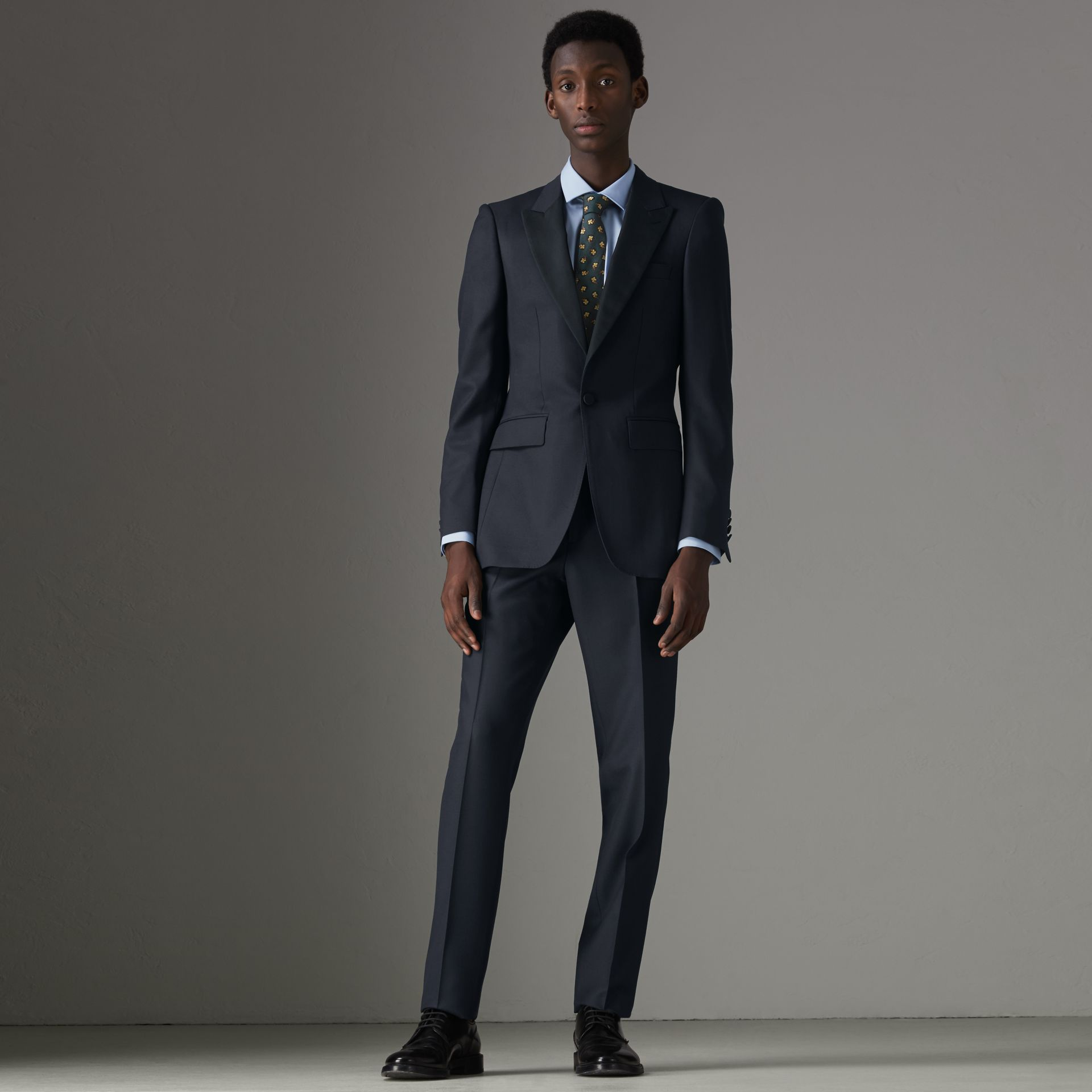 Slim Fit Wool Half-canvas Tuxedo in Navy - Men | Burberry Singapore - gallery image 0