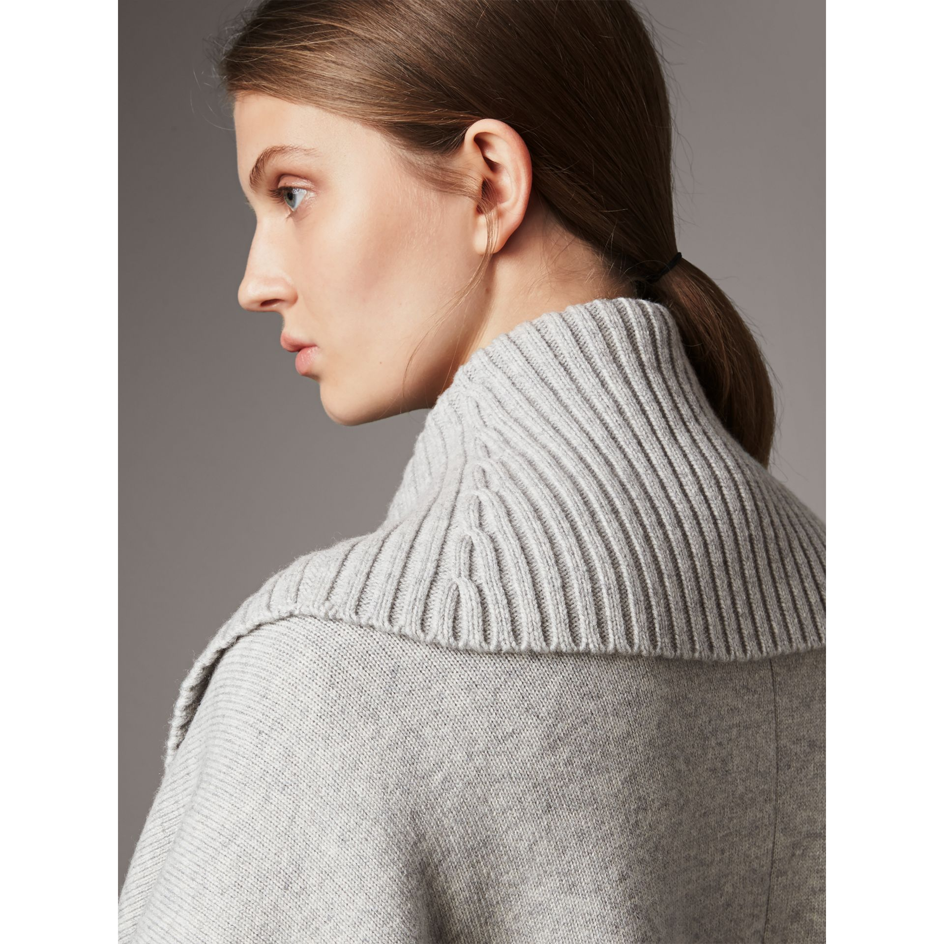 Shawl Collar Wool Cashmere Poncho in Mid Grey Melange - Women | Burberry Australia - gallery image 2