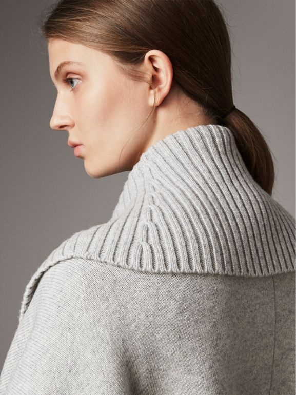 Shawl Collar Wool Cashmere Poncho in Mid Grey Melange - Women | Burberry - cell image 1