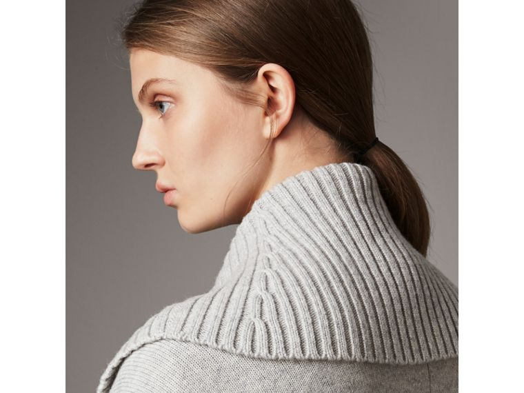 Shawl Collar Wool Cashmere Poncho in Mid Grey Melange - Women | Burberry Australia - cell image 1