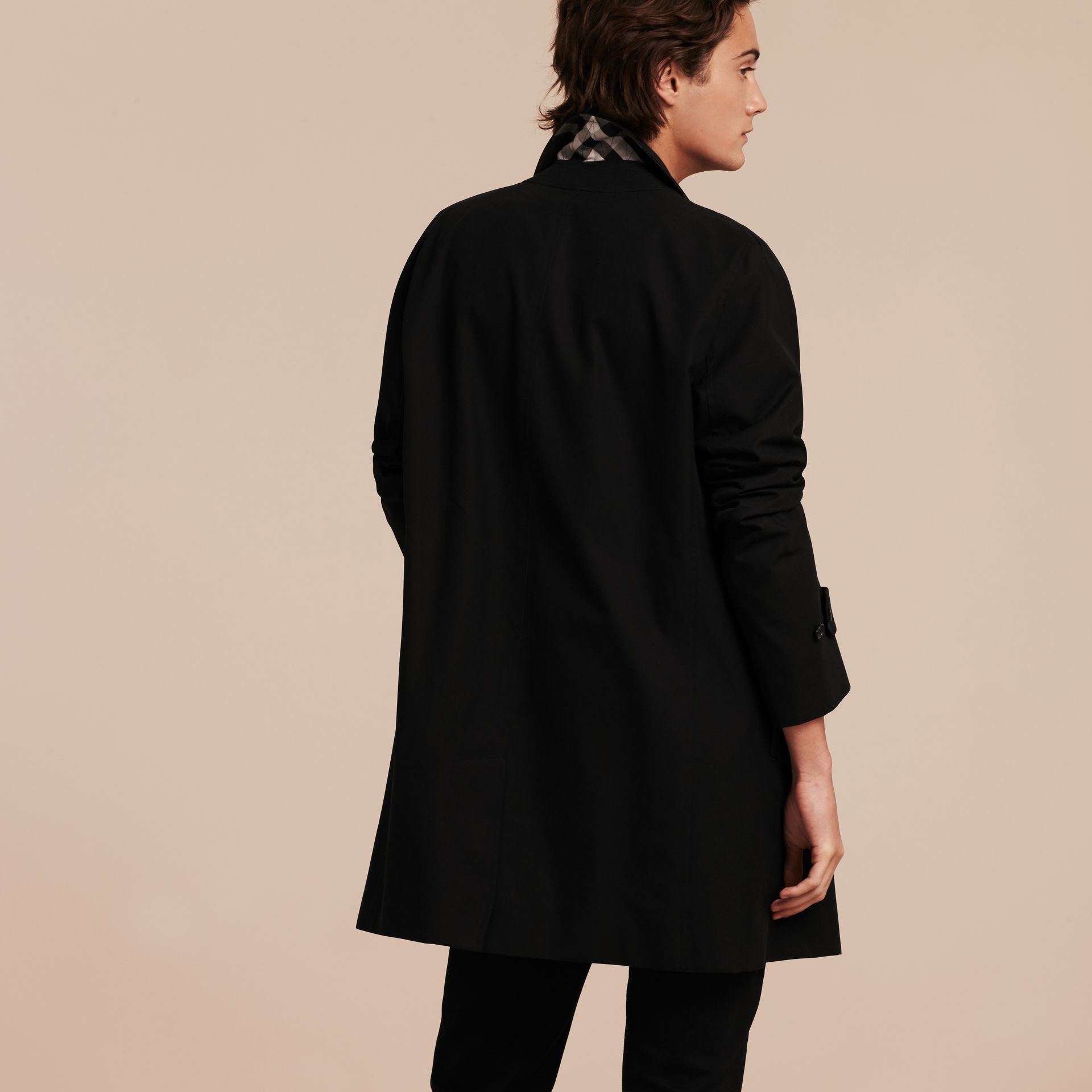 Black Cotton Gabardine Car Coat Black - gallery image 3