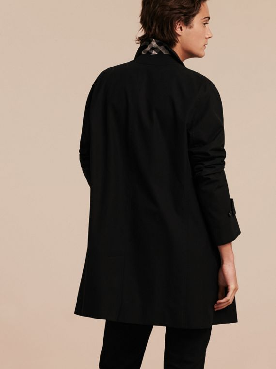 Cotton Gabardine Car Coat in Black - cell image 2