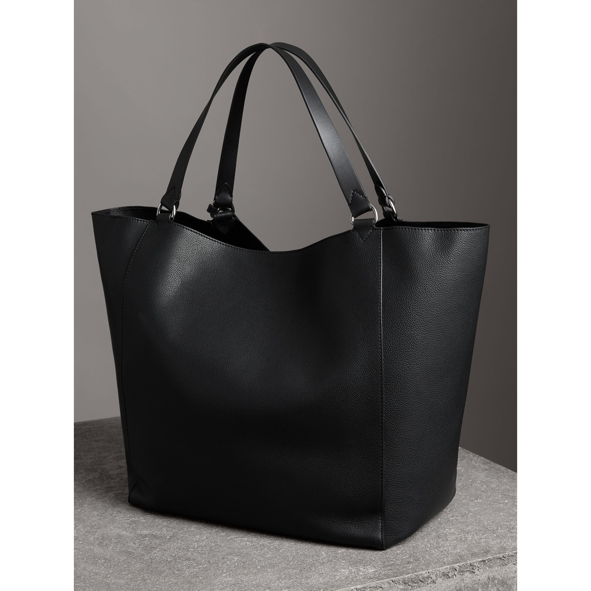 Large Bonded Leather Tote in Black | Burberry - gallery image 3