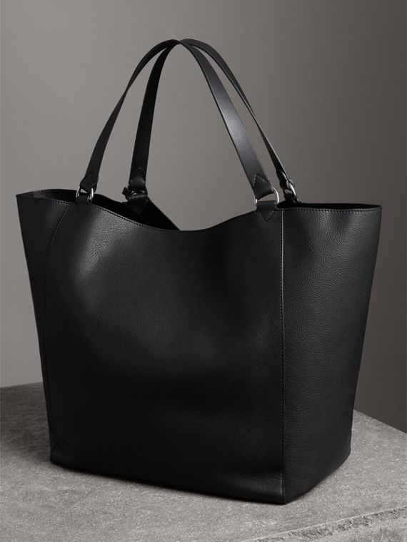 Large Bonded Leather Tote in Black | Burberry - cell image 3