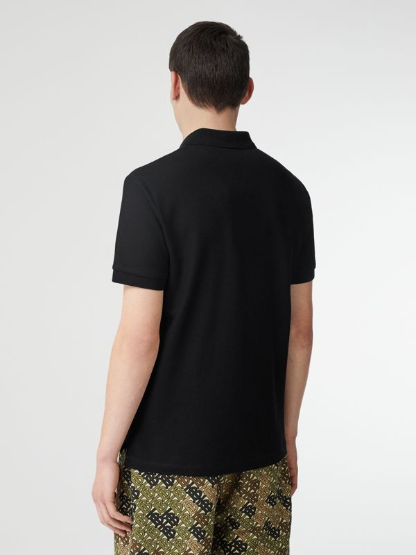 Monogram Motif Cotton Piqué Polo Shirt in Black - Men | Burberry Singapore - cell image 2