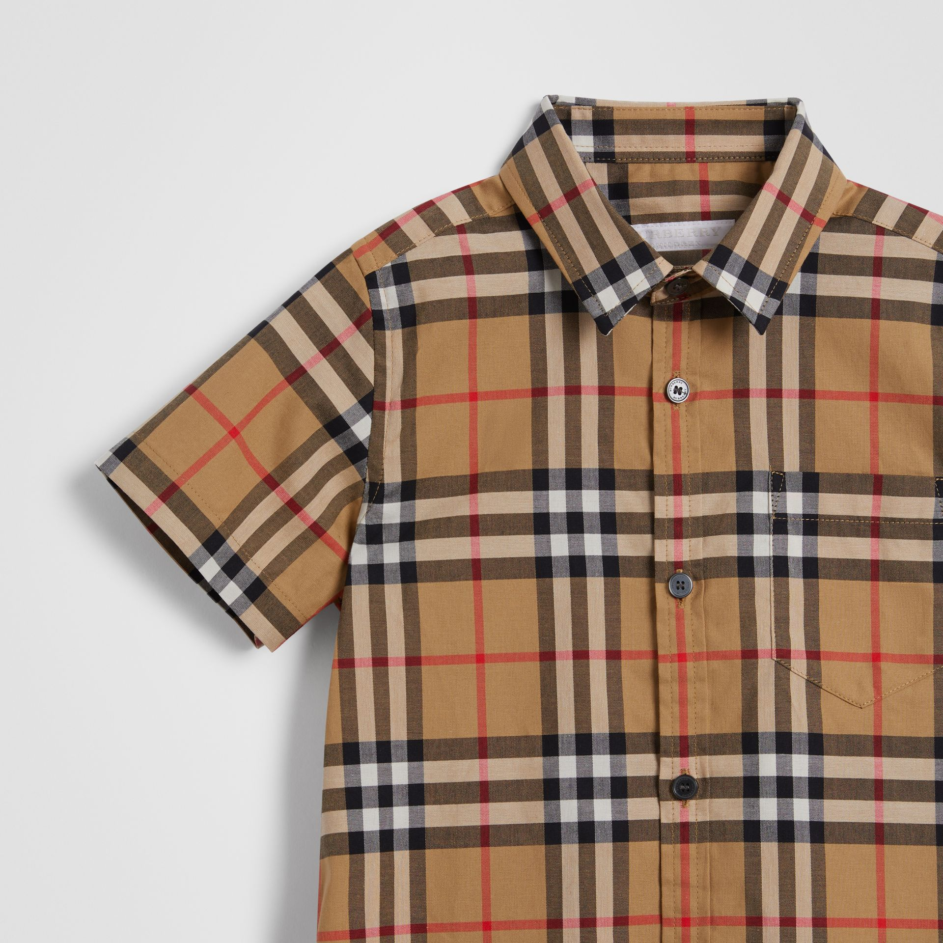 Short-sleeve Vintage Check Cotton Shirt in Antique Yellow | Burberry United Kingdom - gallery image 4