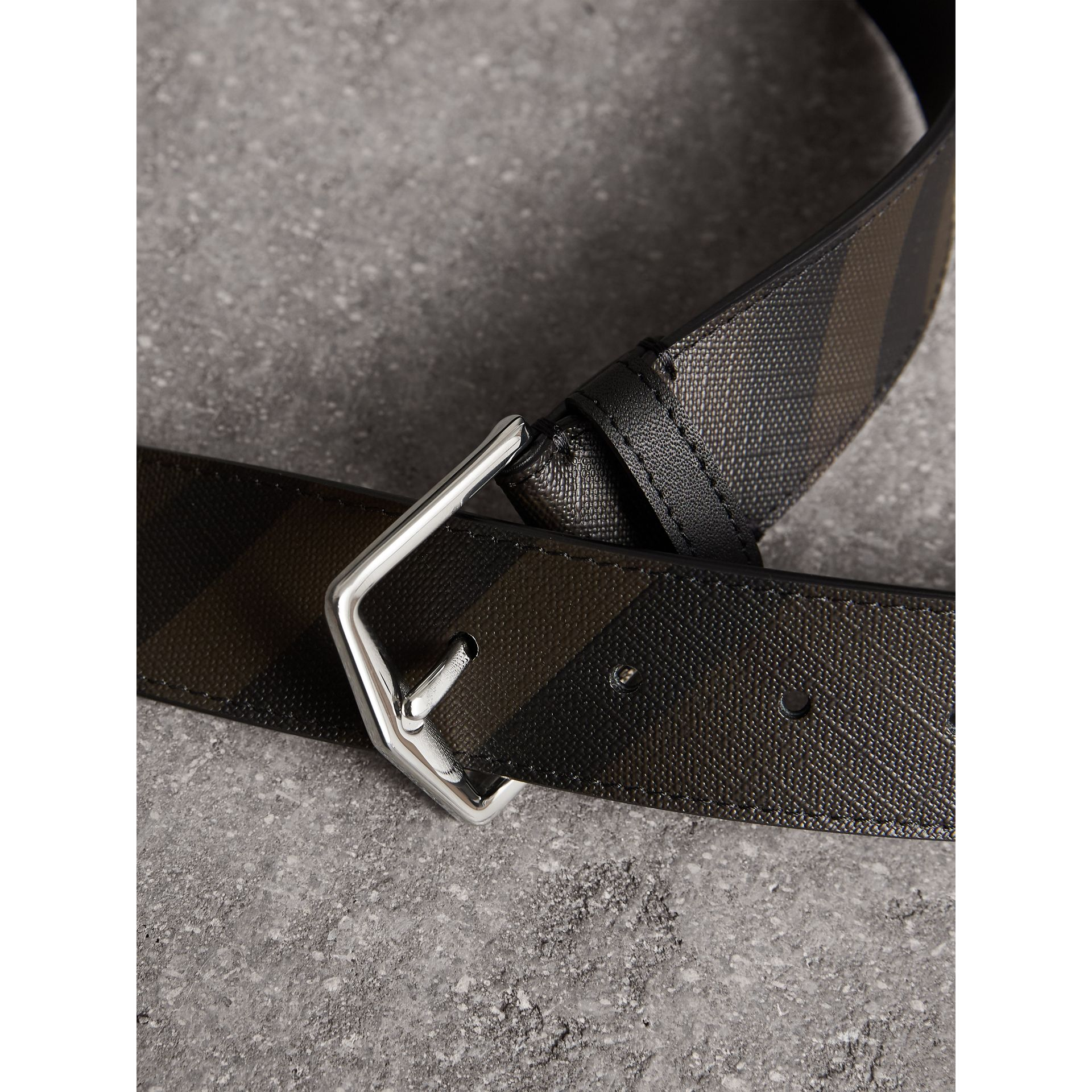 Leather Trim London Check Belt in Chocolate/black - Men | Burberry United Kingdom - gallery image 2