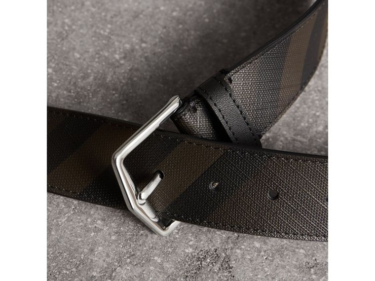 Leather Trim London Check Belt in Chocolate/black - Men | Burberry - cell image 1