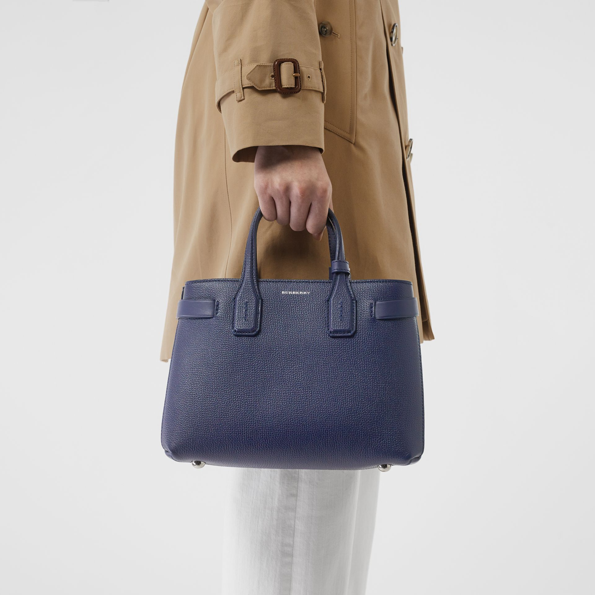 The Small Banner in Leather and Vintage Check in Regency Blue - Women | Burberry - gallery image 3