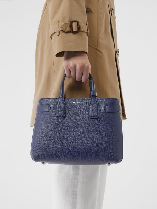 The Small Banner in Leather and Vintage Check in Regency Blue - Women | Burberry Canada - cell image 3