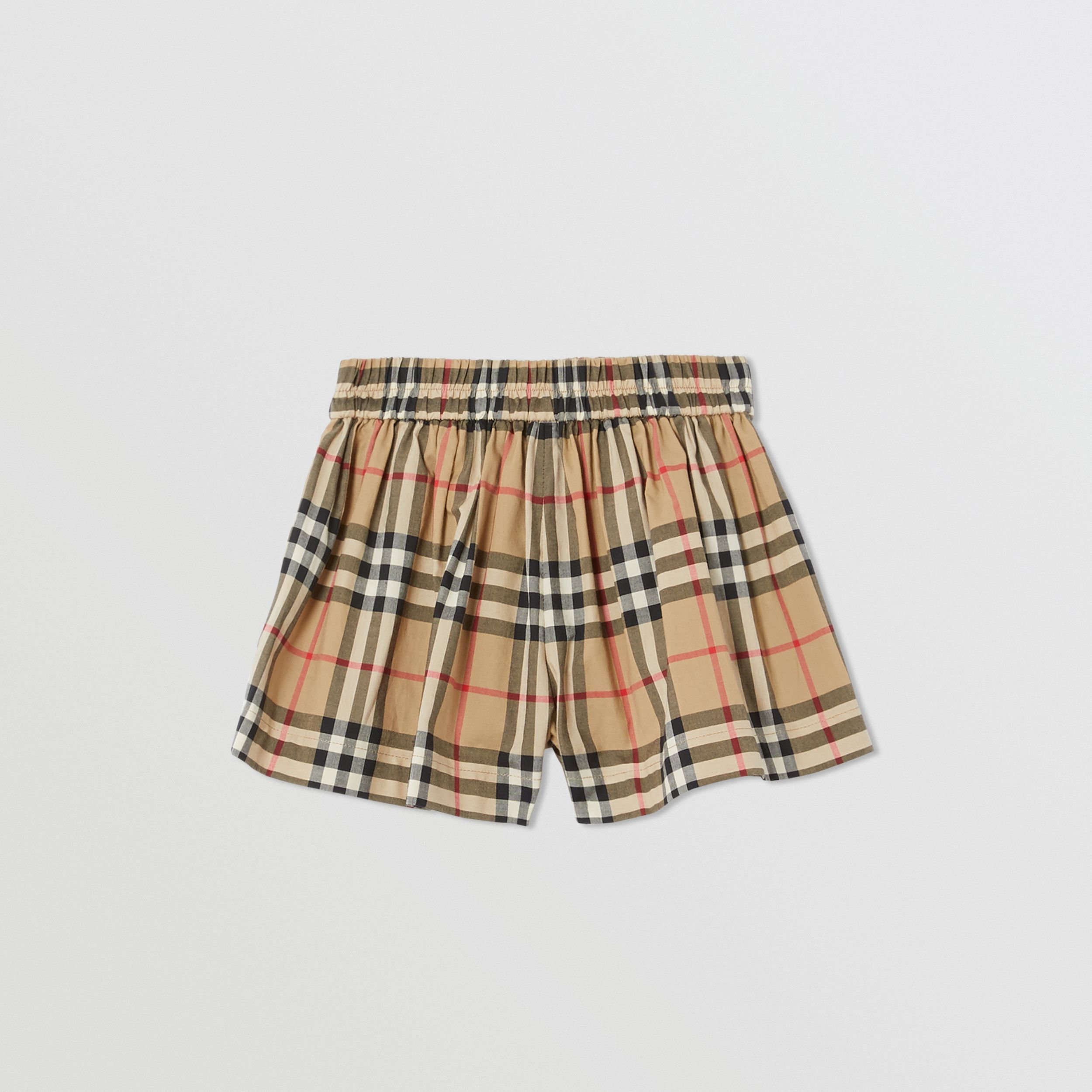 Vintage Check Gathered Cotton Shorts in Archive Beige - Children | Burberry - 4