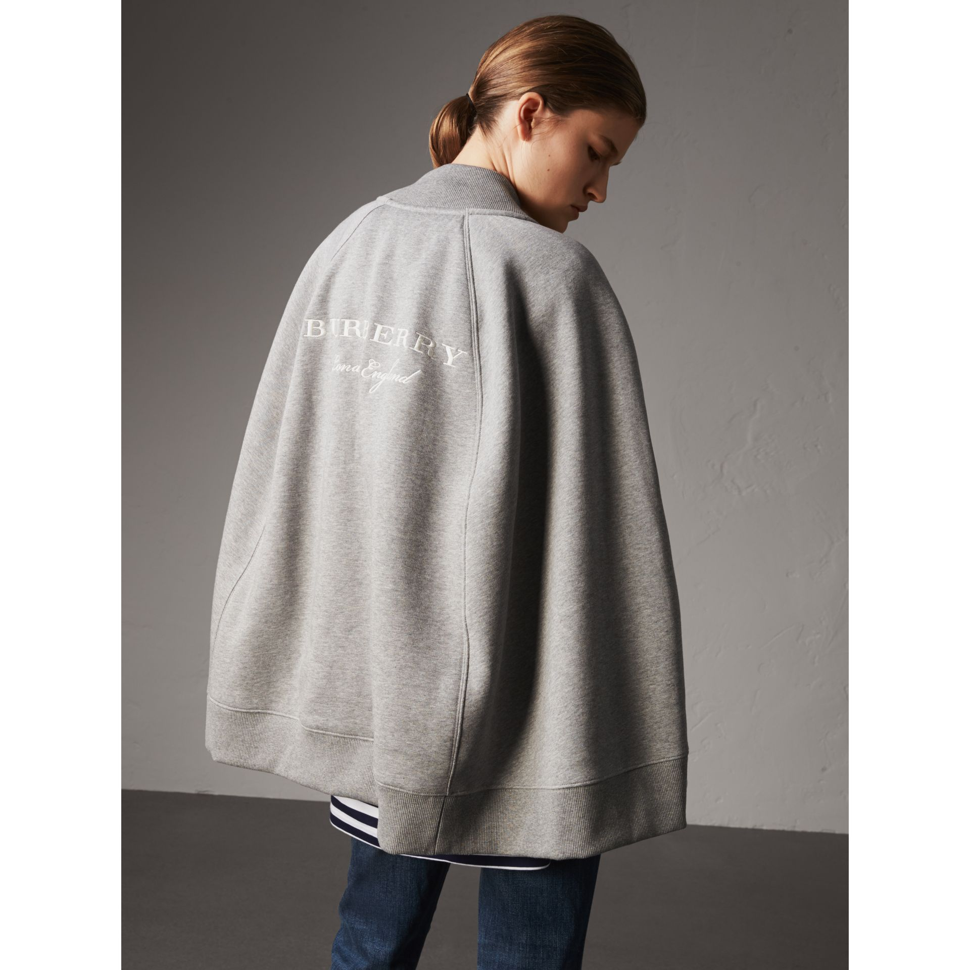 Embroidered Jersey Cape in Pale Grey Melange - Women | Burberry - gallery image 3