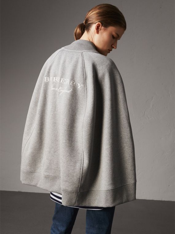 Embroidered Jersey Cape in Pale Grey Melange