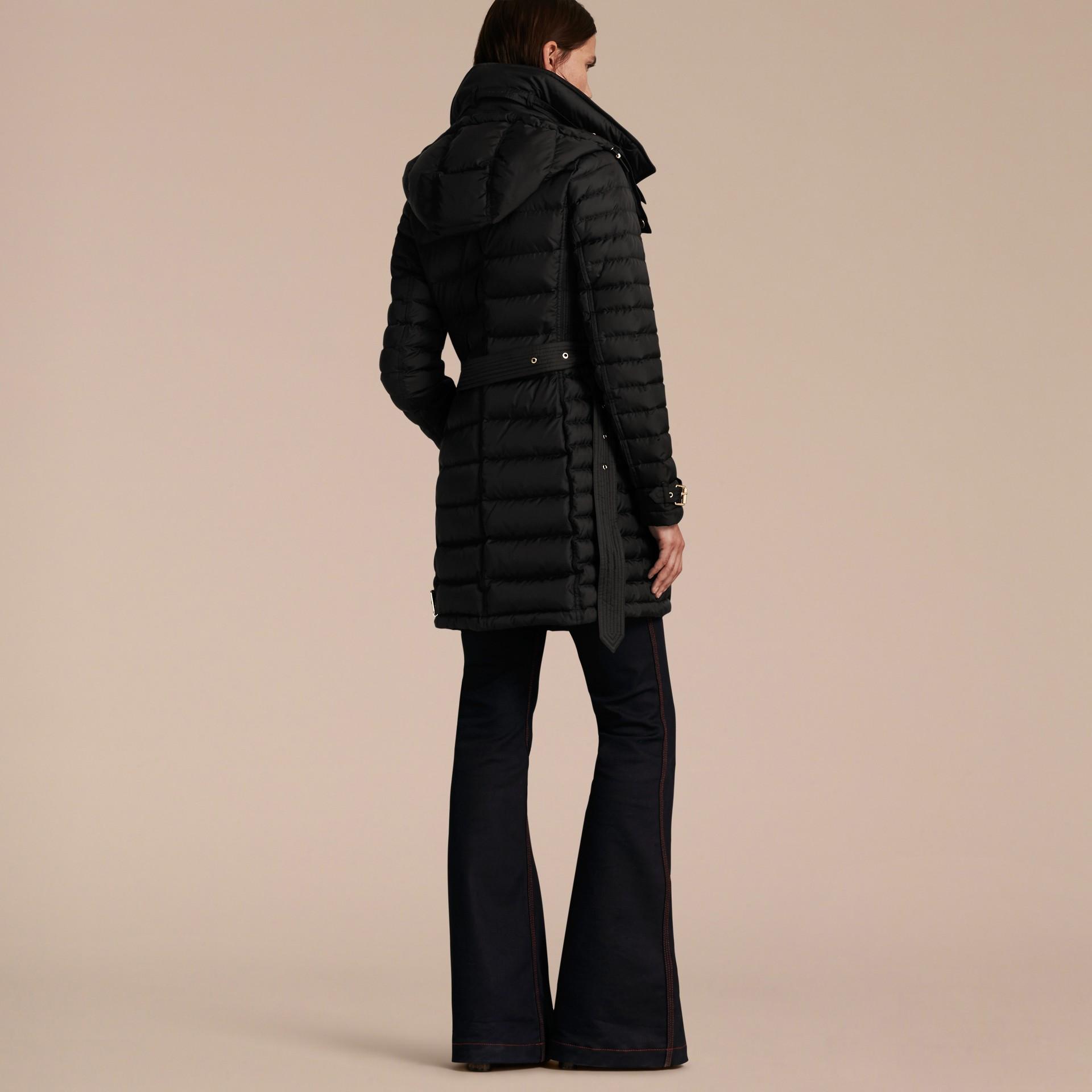 Black Down-filled Puffer Jacket with Packaway Hood Black - gallery image 3