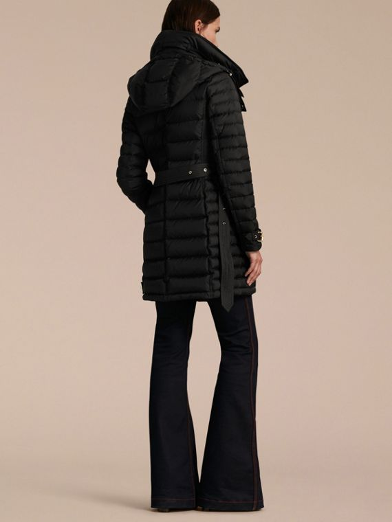Black Down-filled Puffer Jacket with Packaway Hood Black - cell image 2