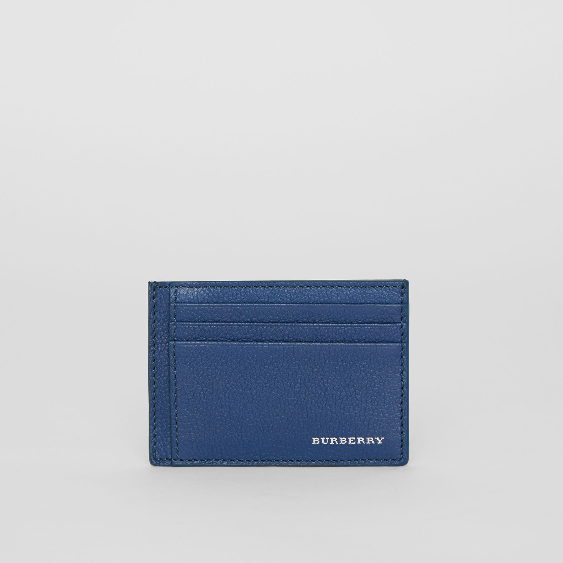 Grainy Leather Money Clip Card Case in Bright Ultramarine - Men | Burberry United States - gallery image 2
