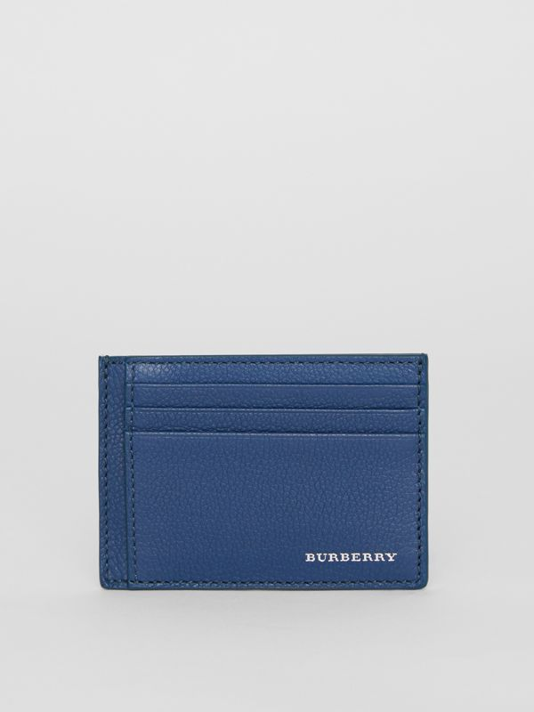 Grainy Leather Money Clip Card Case in Bright Ultramarine - Men | Burberry United States - cell image 2