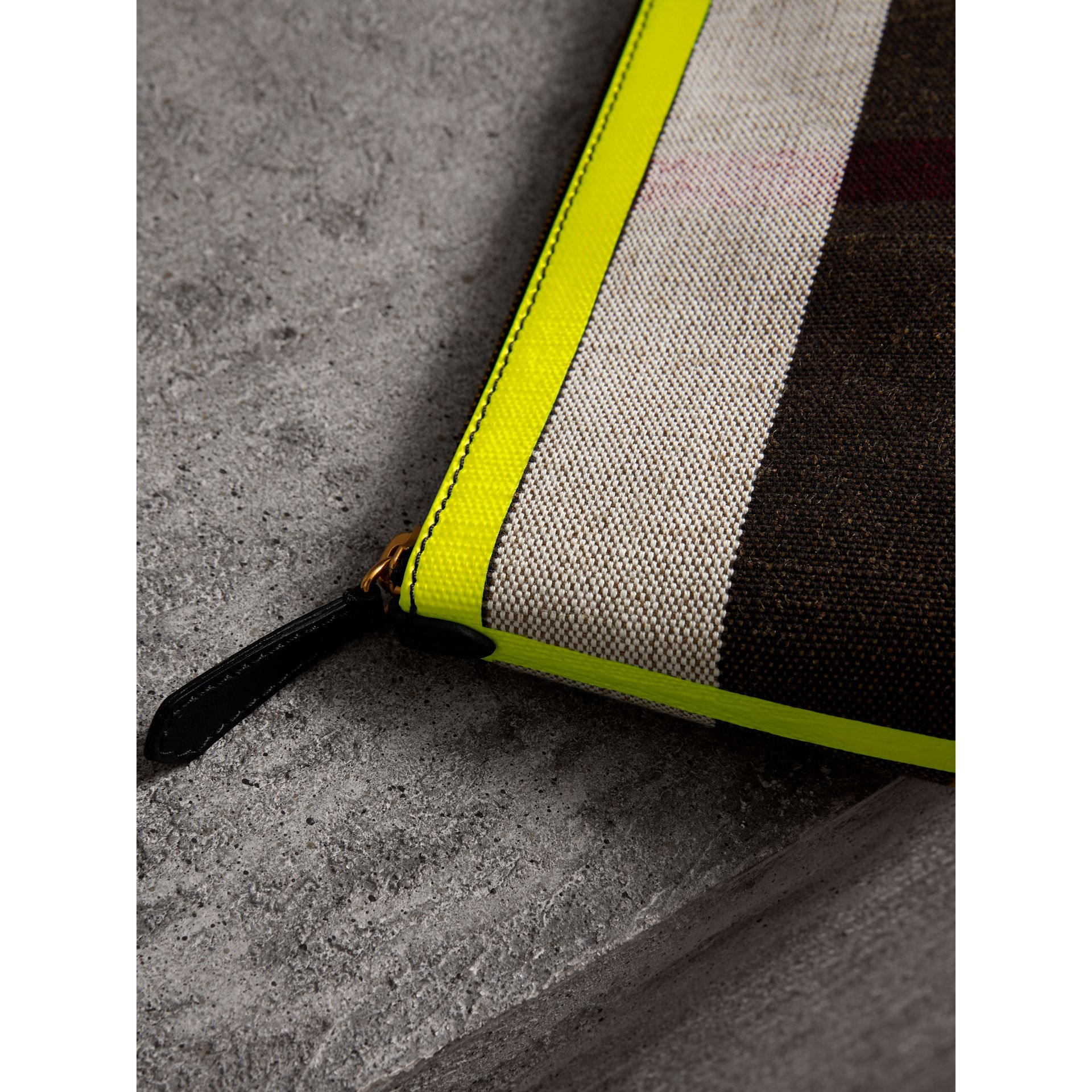Medium Check Canvas and Leather Zip Pouch in Black/neon Yellow - Women | Burberry Canada - gallery image 1