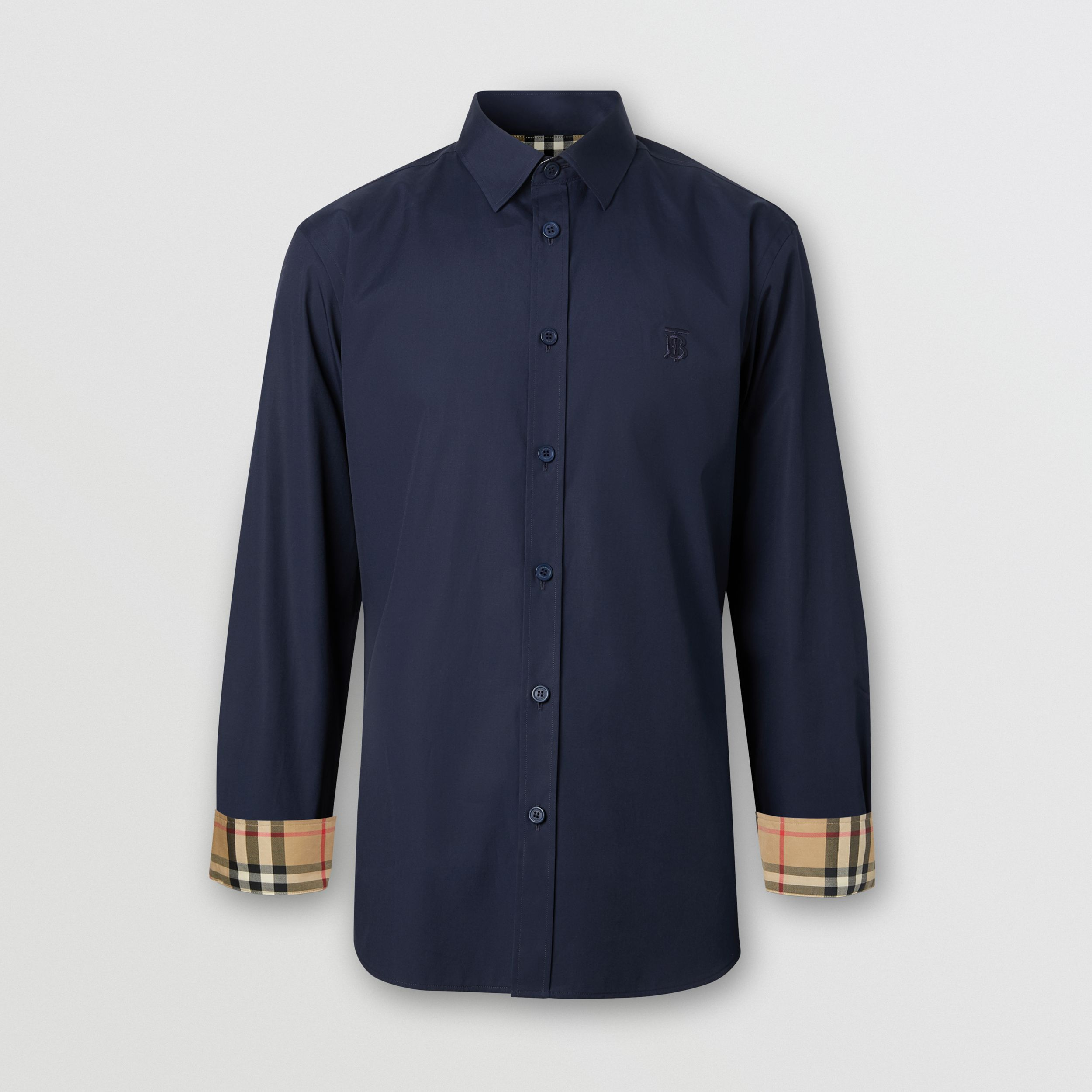 Slim Fit Monogram Motif Stretch Cotton Poplin Shirt in Navy - Men | Burberry - 4