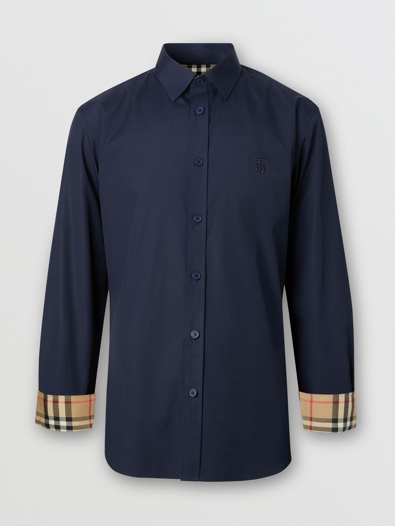Slim Fit Monogram Motif Stretch Cotton Poplin Shirt in Navy